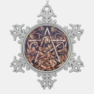 Garden Rose Pentacle Snowflake Ornament
