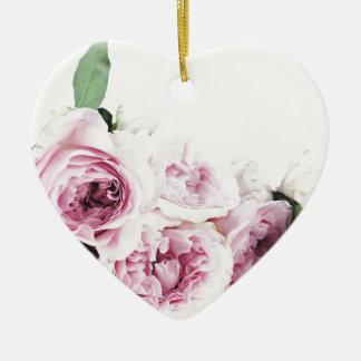 Garden roses ceramic ornament