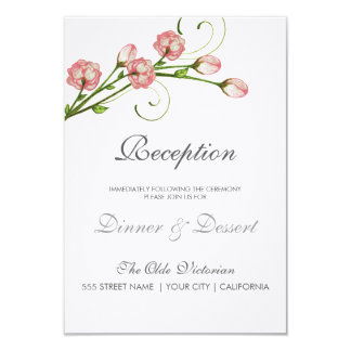 Garden Roses Reception Card 9 Cm X 13 Cm Invitation Card