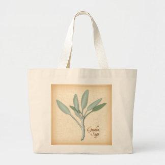 Garden Sage Herb Large Tote Bag