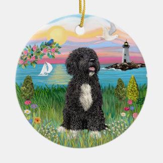 Garden-Shore - Portuguese Water Dog #5-(bw) Ceramic Ornament