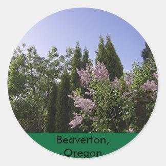 Garden Sky View in Beaverton, Oregon Classic Round Sticker