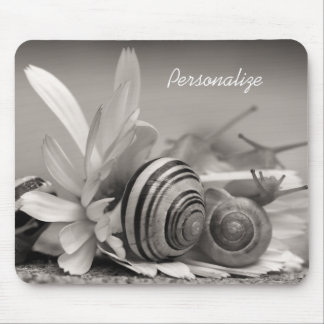 Garden Snails On Daisy Flower With Name Mouse Pad