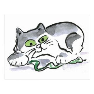 Garden Snake and the Curious Kitten Postcard