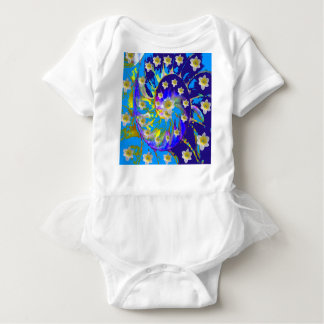 GARDEN  SPIRAL &  DAFFODILS IN BLUES BABY BODYSUIT