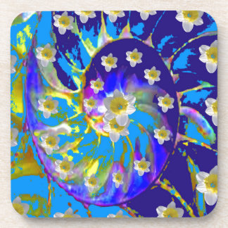 GARDEN  SPIRAL &  DAFFODILS IN BLUES COASTER