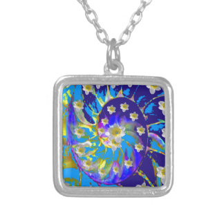 GARDEN  SPIRAL &  DAFFODILS IN BLUES SILVER PLATED NECKLACE