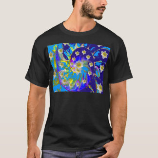 GARDEN  SPIRAL &  DAFFODILS IN BLUES T-Shirt