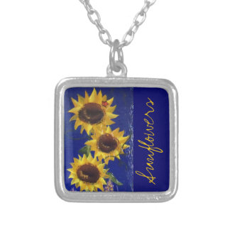 """""""Garden Sunflowers"""" necklace; RhubarbStreet Silver Plated Necklace"""