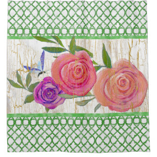 Garden Trellis Modern Floral w Butterfly n Wood Shower Curtain