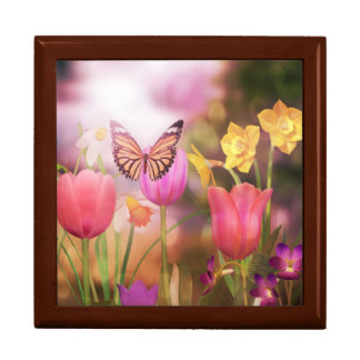 Garden tulips and butterfly box jewelry boxes