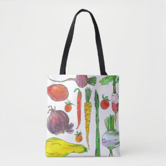 Garden Vegetables Carrots Asparagus Beets Tote Bag