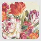 Garden View Tossed Flowers Square Sticker