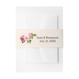Garden Watercolor Flowers Invitation Belly Band