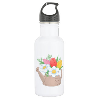 Garden Watering Can with Flowers 532 Ml Water Bottle