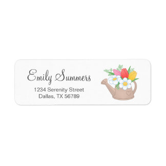 Garden Watering Can with Flowers Address Return Address Label