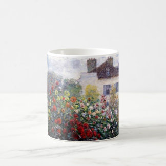 Garden with Dahlias by Claude Monet Fine Art Classic White Coffee Mug