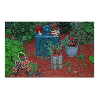 garden with iron stove poster