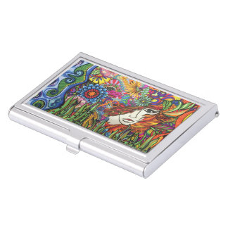 Garden woman Card Holder Case For Business Cards
