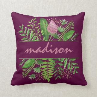 Garden Woods Botanical Typography Cushion