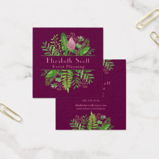 Garden Woods Botanical Typography Square Business Card
