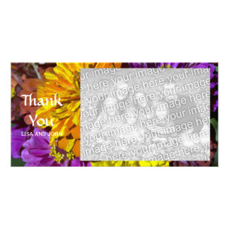 Garden Zinnia Flowers Thank You Photo Card