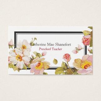 Gardener Landscape Florist Vintage Chic Roses Business Card