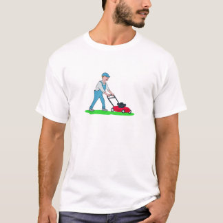 Gardener Mowing Lawn Cartoon T-Shirt