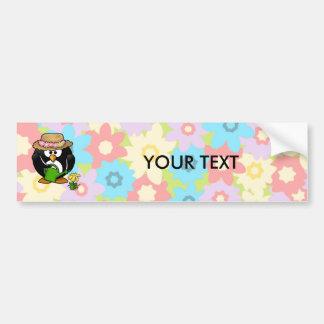 Gardener Penguin With Flower Background Bumper Sticker