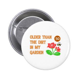 Gardener's 50th Birthday 6 Cm Round Badge