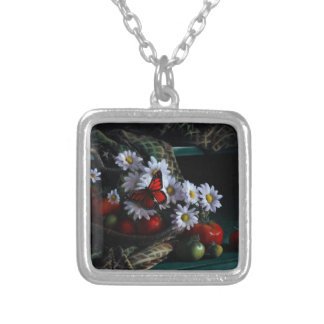 Gardening Bench Silver Plated Necklace