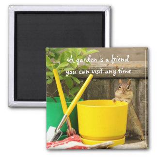 Gardening Chipmunk with Quote Magnet