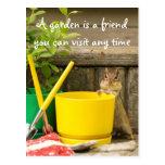 Gardening Chipmunk with Quote Postcard