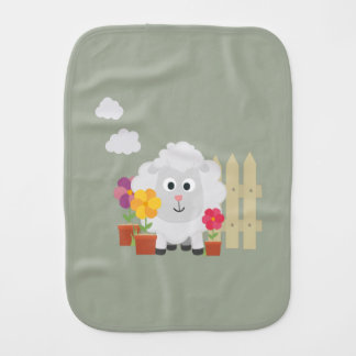 Gardening Sheep with flowers Z67e8 Burp Cloth