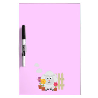 Gardening Sheep with flowers Z67e8 Dry Erase Board