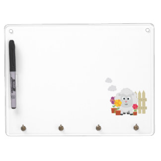 Gardening Sheep with flowers Z67e8 Dry Erase Board With Key Ring Holder