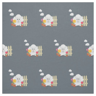 Gardening Sheep with flowers Z67e8 Fabric