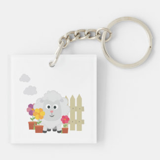 Gardening Sheep with flowers Z67e8 Key Ring