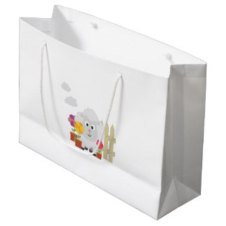 Gardening Sheep with flowers Z67e8 Large Gift Bag