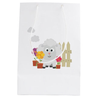 Gardening Sheep with flowers Z67e8 Medium Gift Bag