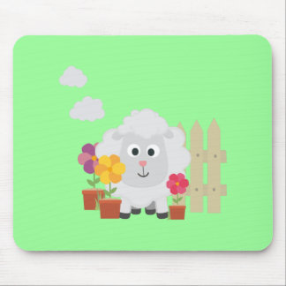 Gardening Sheep with flowers Z67e8 Mouse Pad