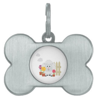 Gardening Sheep with flowers Z67e8 Pet ID Tag