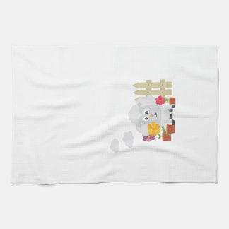 Gardening Sheep with flowers Z67e8 Tea Towel