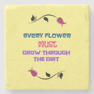 Gardening Themed Typography Inspirational Quote Stone Beverage Coaster