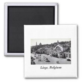 Gare des Guillemins, Liege Belgium Vintage Square Magnet