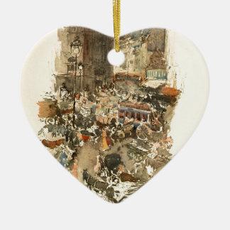 Gare Saint-Lazare Paris 1910 Ceramic Heart Decoration