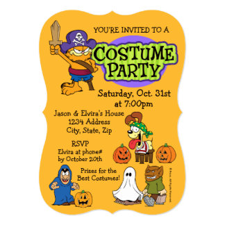 Garfield & Odie Halloween Costume Party Card