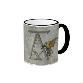 Gargoyle Monogram A Coffee Mugs