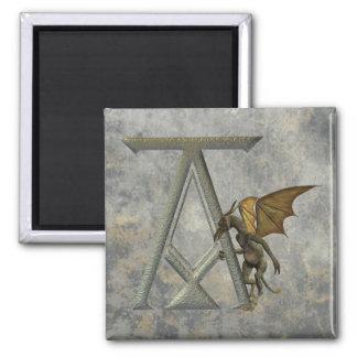 Gargoyle Monogram A Square Magnet