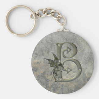 Gargoyle Monogram B Basic Round Button Key Ring